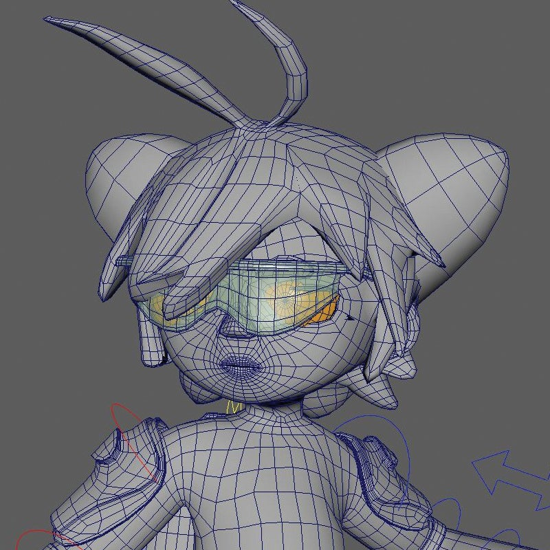 Wireframe of a game character