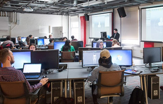 Students working in the Gaming Program Lab