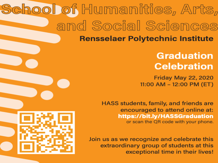 an invitation to attend the virtual celebration of HASS graduating students