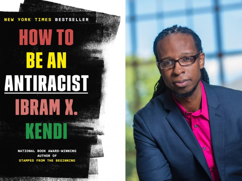 Book cover and photo of author, Ibram X. Kendi