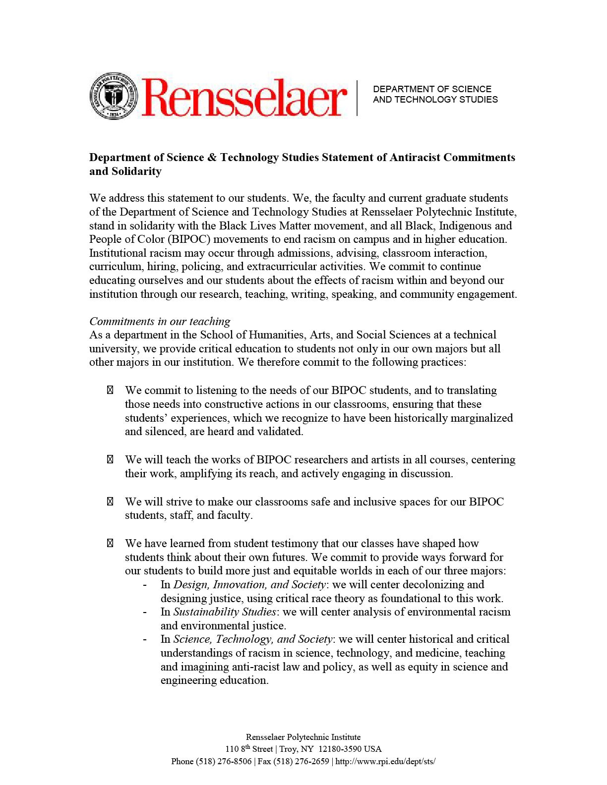 A statement of antiracist commitment and solidarity from STS.