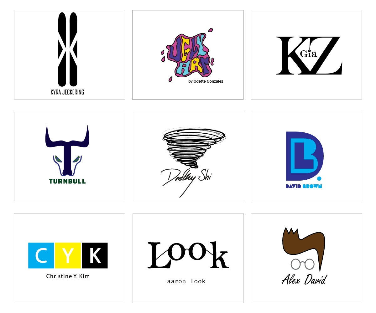 various logos designed by students