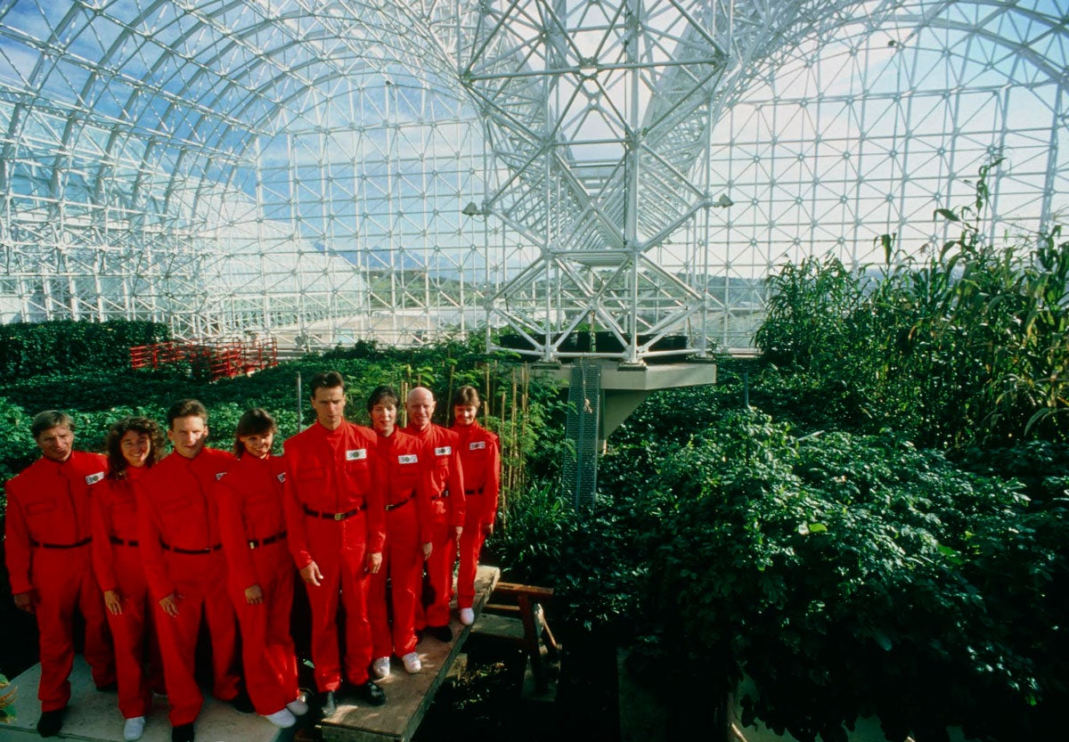 Biosphere 2 promotional photo featuring staff