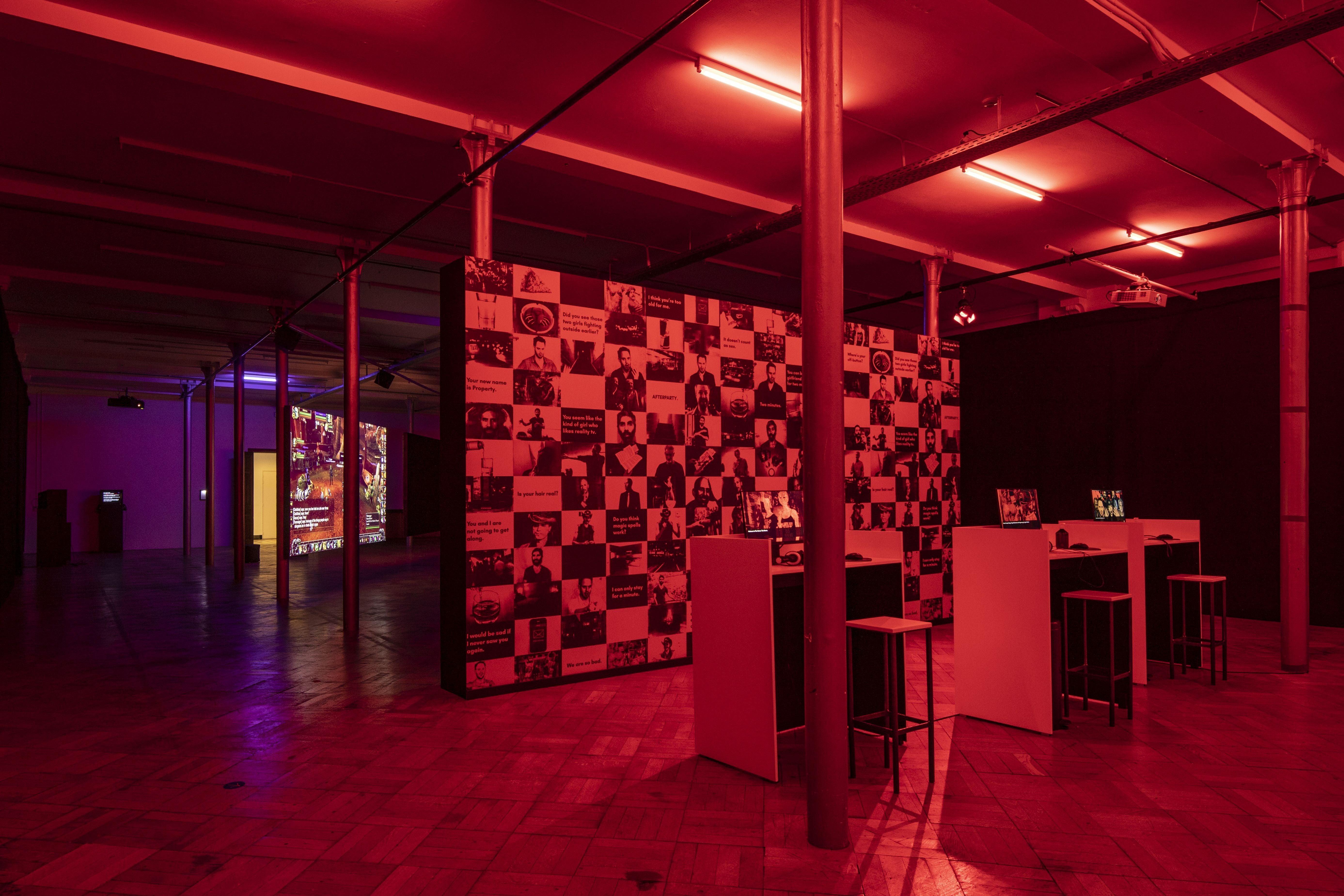 Wascho exhibit under red light