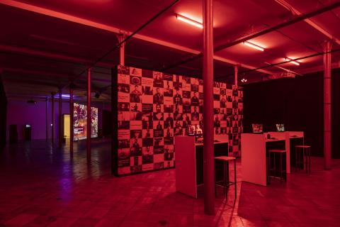 Washko exhibit space under red light